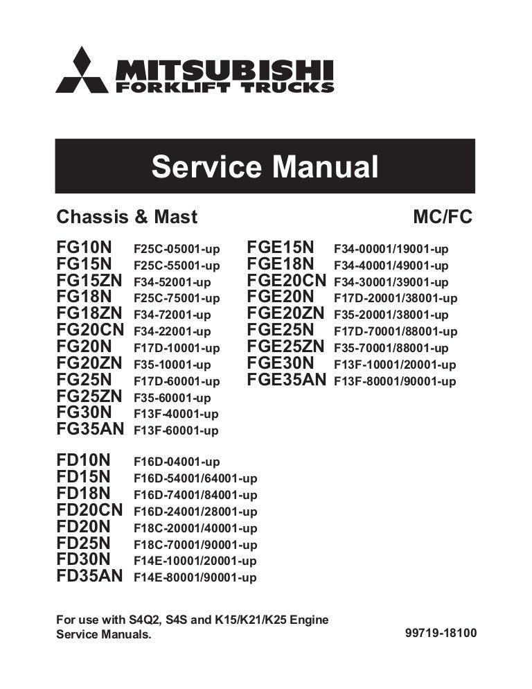 Mitsubishi fgc15 n forklift trucks chassis, mast and options service …SlideShare