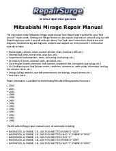 mitsubishi mirage repair manual 1990 2002  slideshare