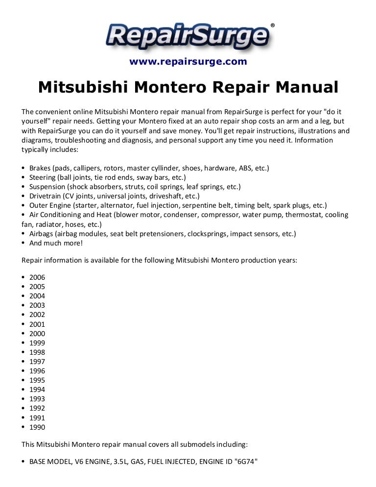 mitsubishi montero repair manual 1990 2006 rh slideshare net 2001 mitsubishi montero limited owners manual 2003 Mitsubishi Montero
