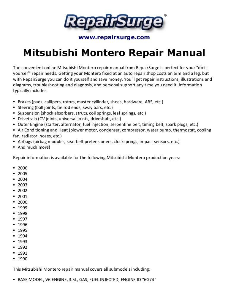 mitsubishi montero repair manual 1990 2006 rh slideshare net 1999 Mitsubishi Montero 2001 mitsubishi montero limited owners manual