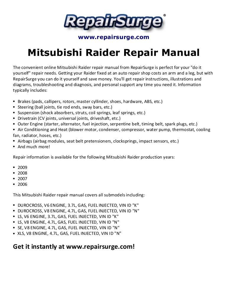 mitsubishi raider repair manual 2006 2009 rh slideshare net Mitsubishi 3000GT Alternator Belt Diagram Mitsubishi Montero Engine 3.5 Diagram