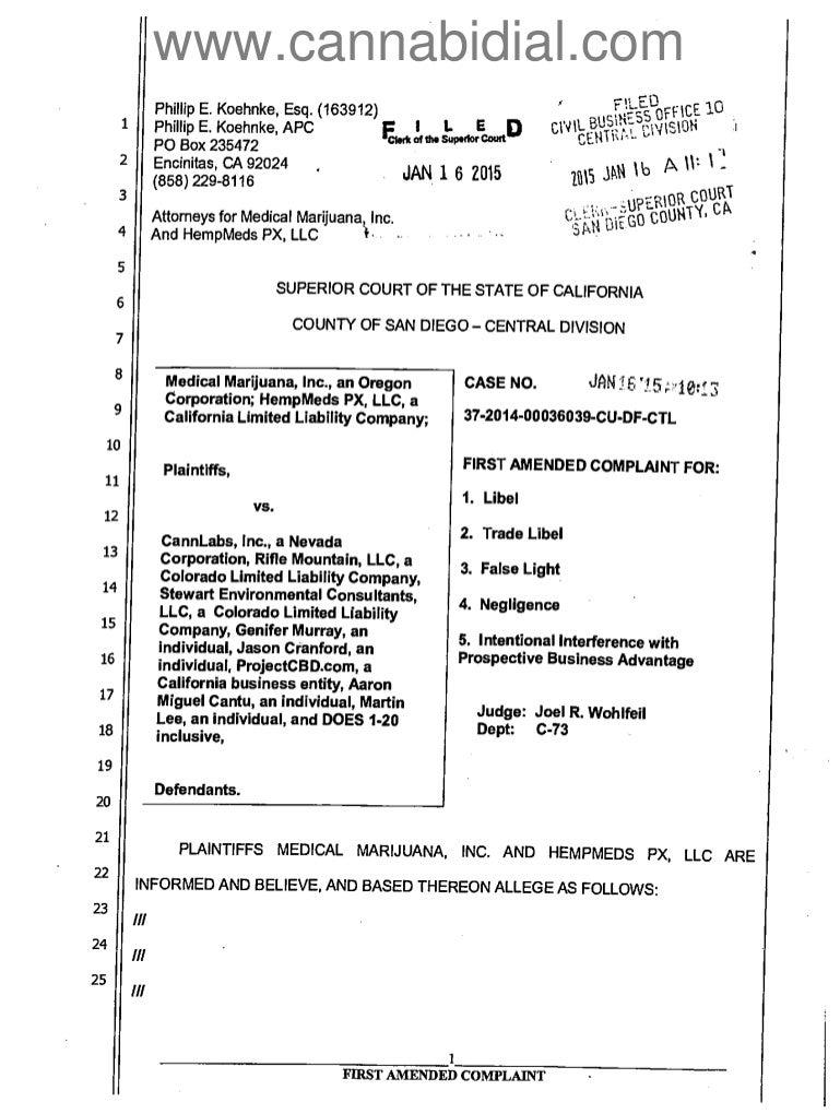 Medical Marijuana Inc Smear Campaign Lawsuit