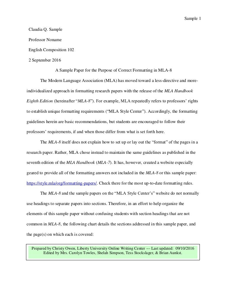 mla 8 sample paper