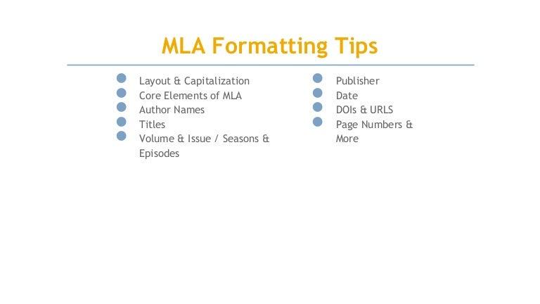 Mla 8th Edition Citation Formating Tips