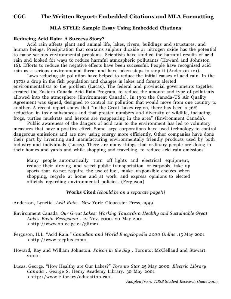 mla style example essay