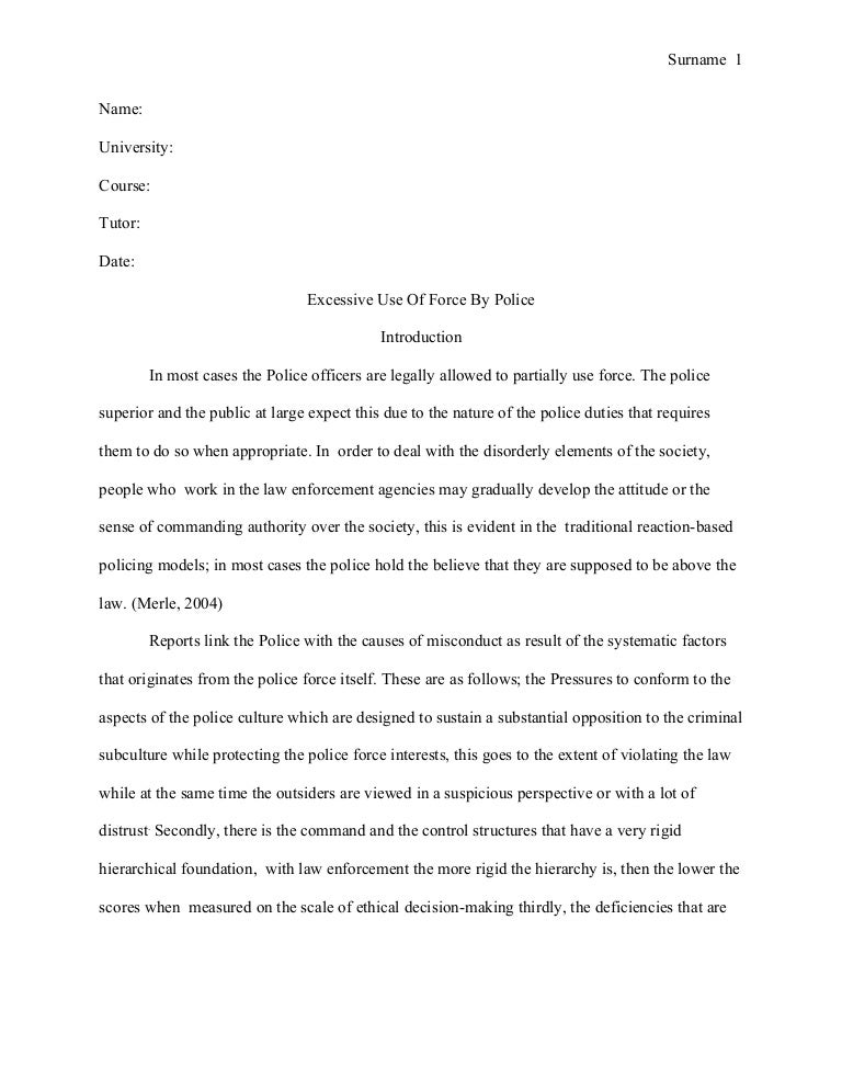 police brutality essay with citations