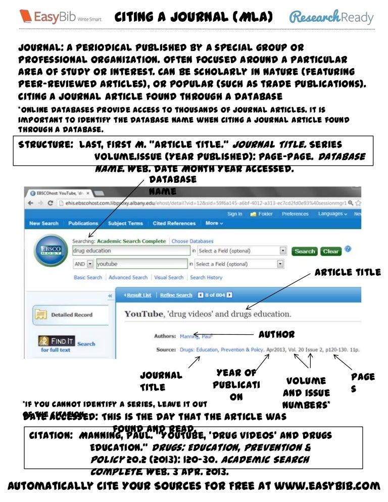 Mla cite journal article found online
