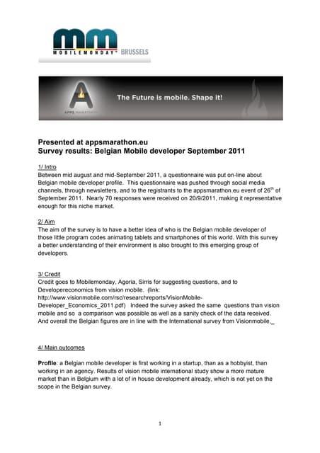 Mobile Monday: Background Notes Appsmarathon Study