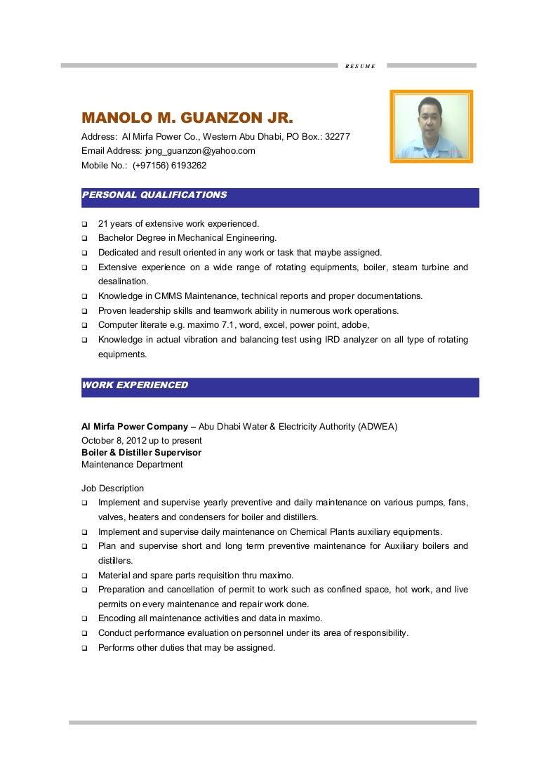100 Mechanical Engineer Resume For Fresher Graduate Civil