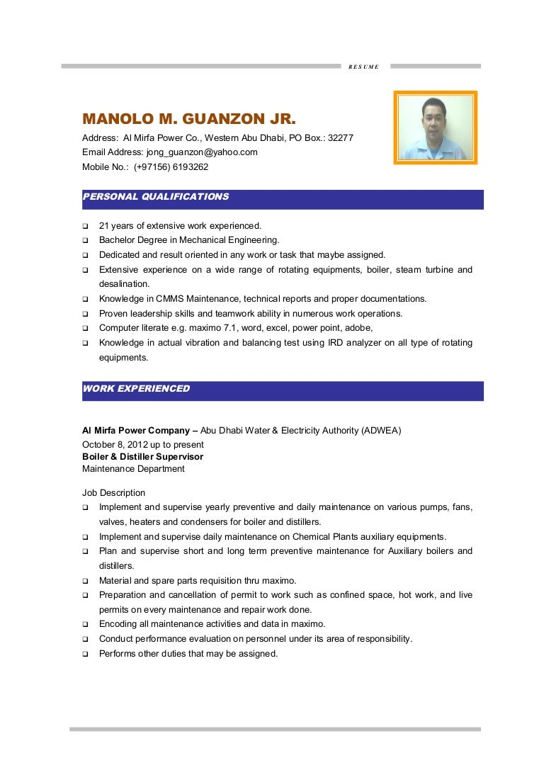 Mm guanzon cv maintenance engineer yelopaper Gallery