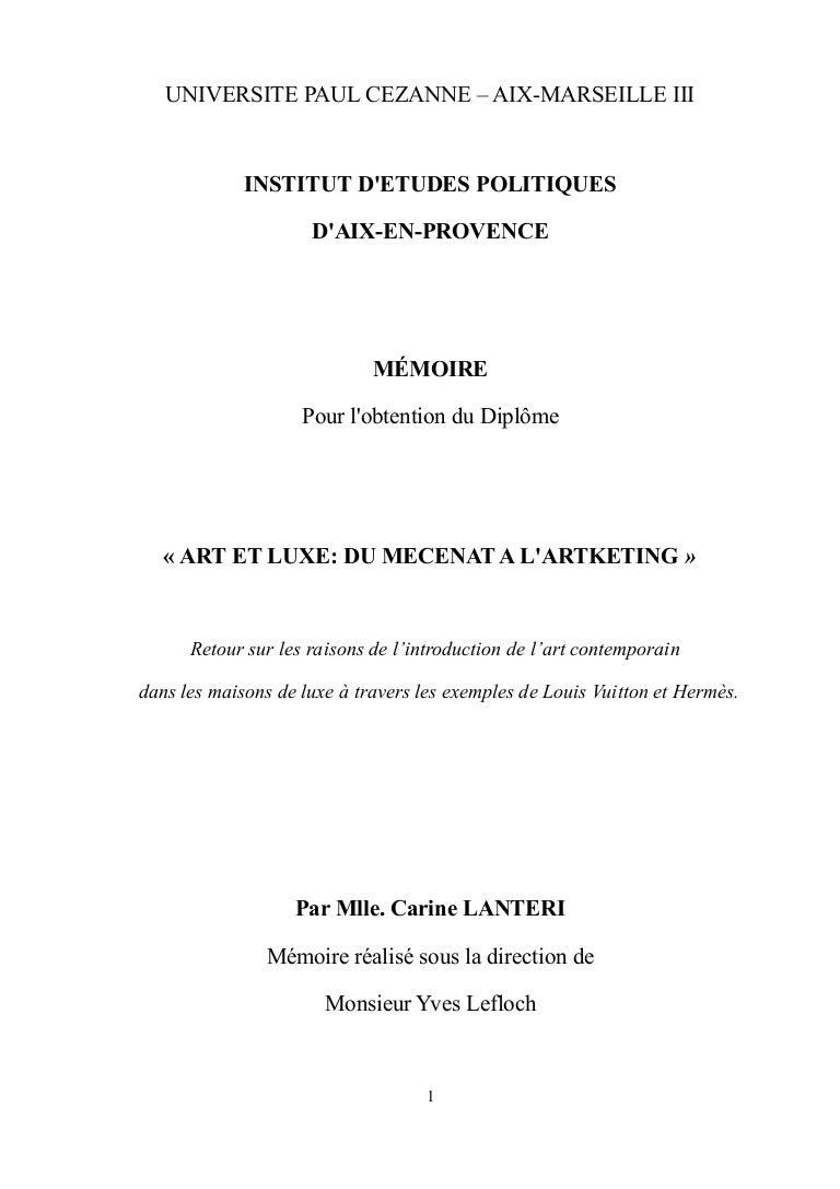 Mémoire de fin d études, Art et Luxe  du mécénat à l artketing 1aaabf766f5