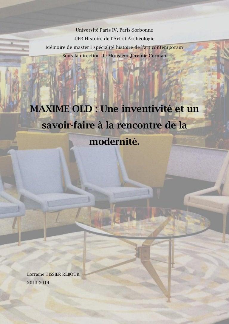 Mémoire Maxime Old de Mlle. Lorraine Tissier-Rebour