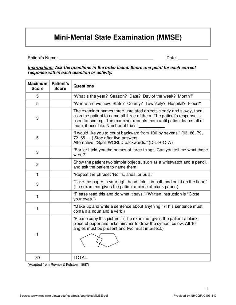image relating to Mini Mental Status Exam Printable named Mini-Psychological Region Assessment