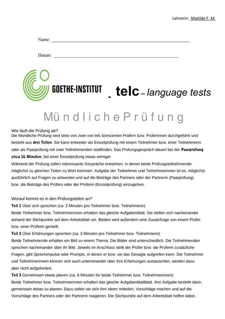 telc- Mündliche Prüfung