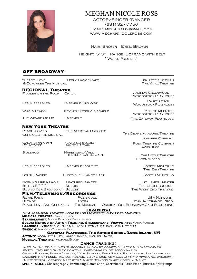 dancer resume resume headings how to write a dance resume sample ...