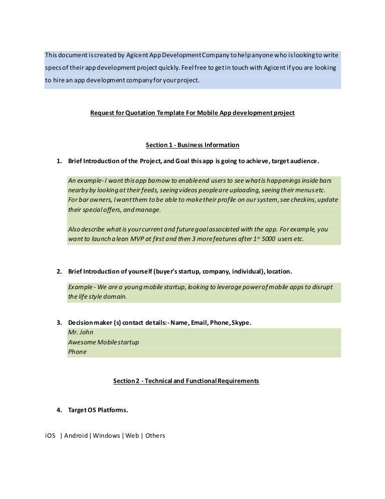 Mobile App Specification Template Sample App Requirements Specs Docu