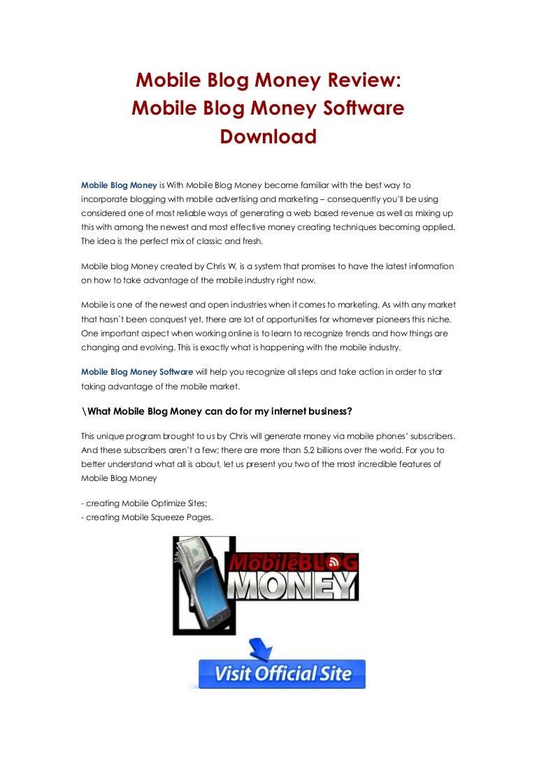 Mobile blog money software warrior forum.