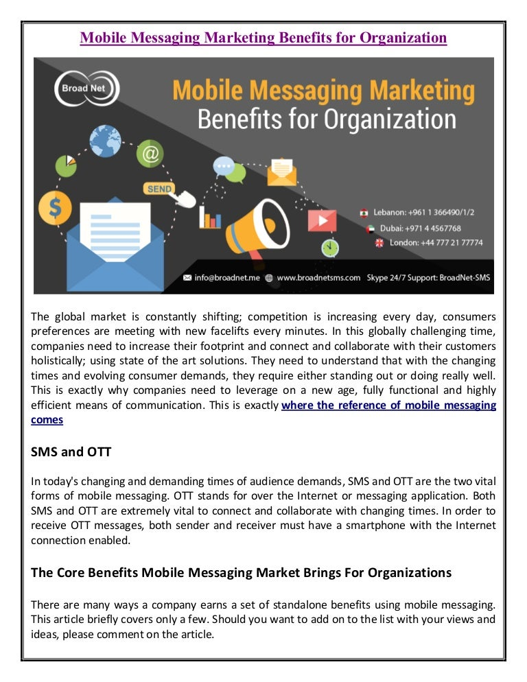 Mobile Messaging Marketing Benefits for Organization Broadnet sms