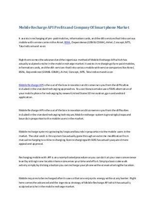 mobile recharge api profits and company of smart phone market