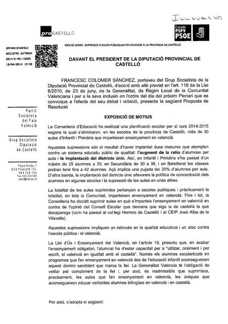 Mocion psoe aulas valenciano
