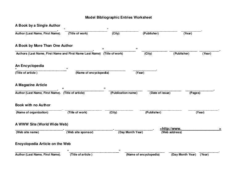 Model Bibliographic Entries Worksheet For Students