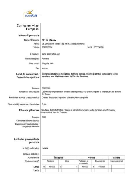 Curriculum Vitae In Franceza Completat Mucadelegazetesi Com Tr