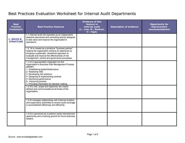 Model i best practice evaluation worksheet for ia