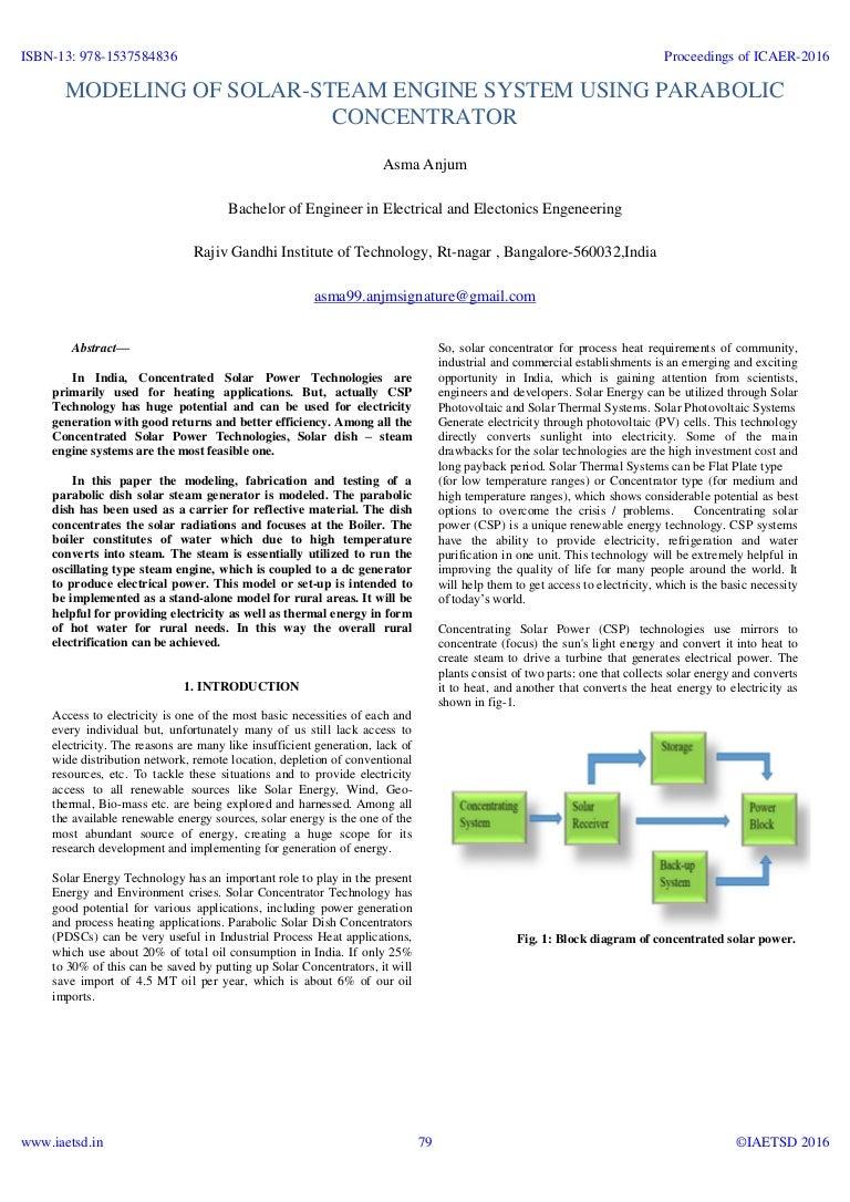 Iaetsd Modeling Of Solar Steam Engine System Using Parabolic Diagram