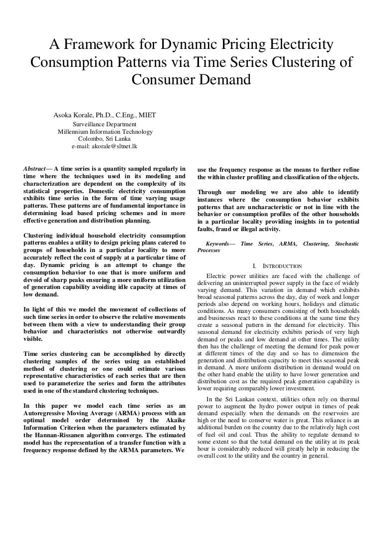 A framework for dynamic pricing electricity consumption patterns via …