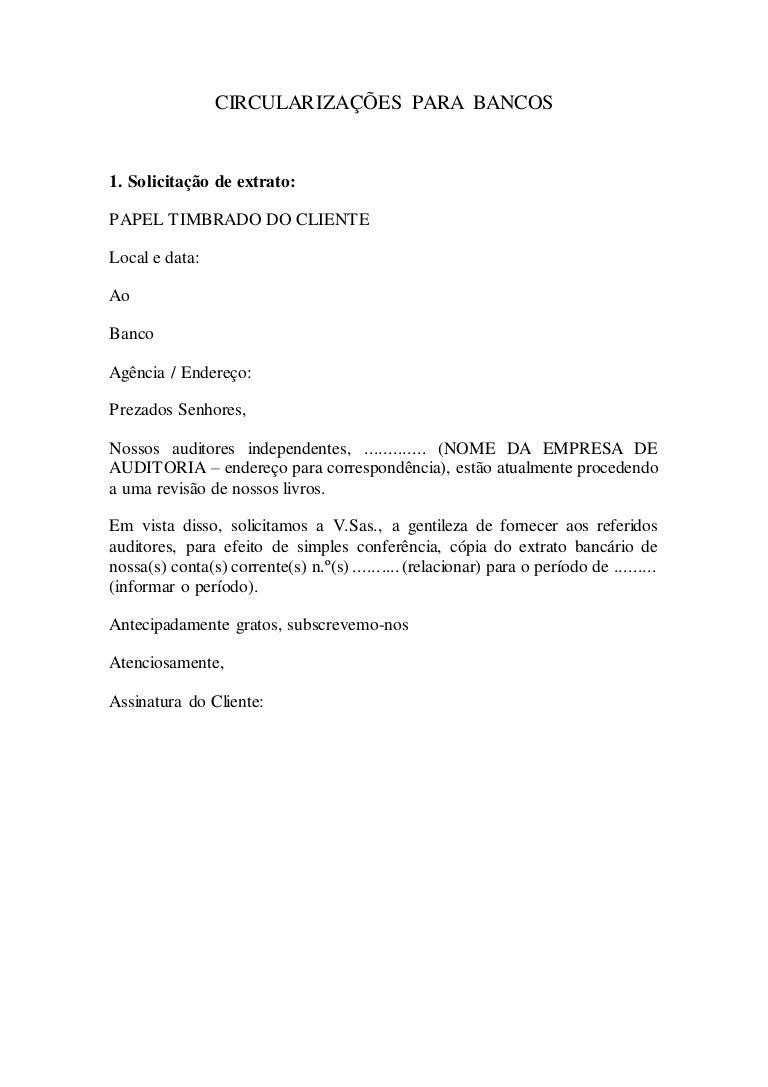 Um Pedido De Carta De Circularização Redação November 2019