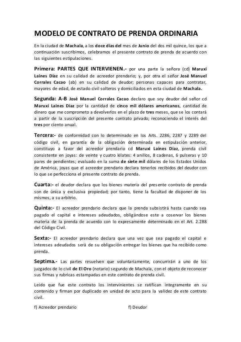 Modelo de contrato de prenda ordinaria for Contrato documento