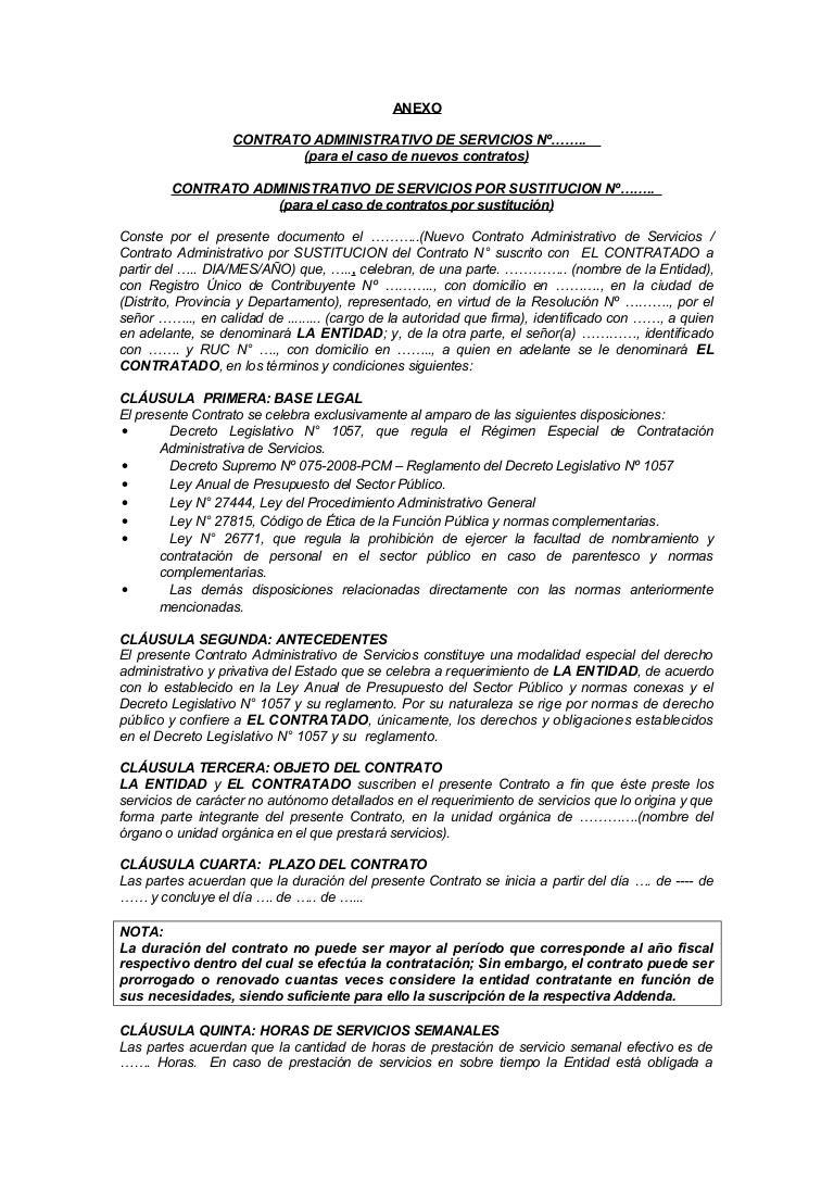 Modelo contrato cas Contrato trabajo