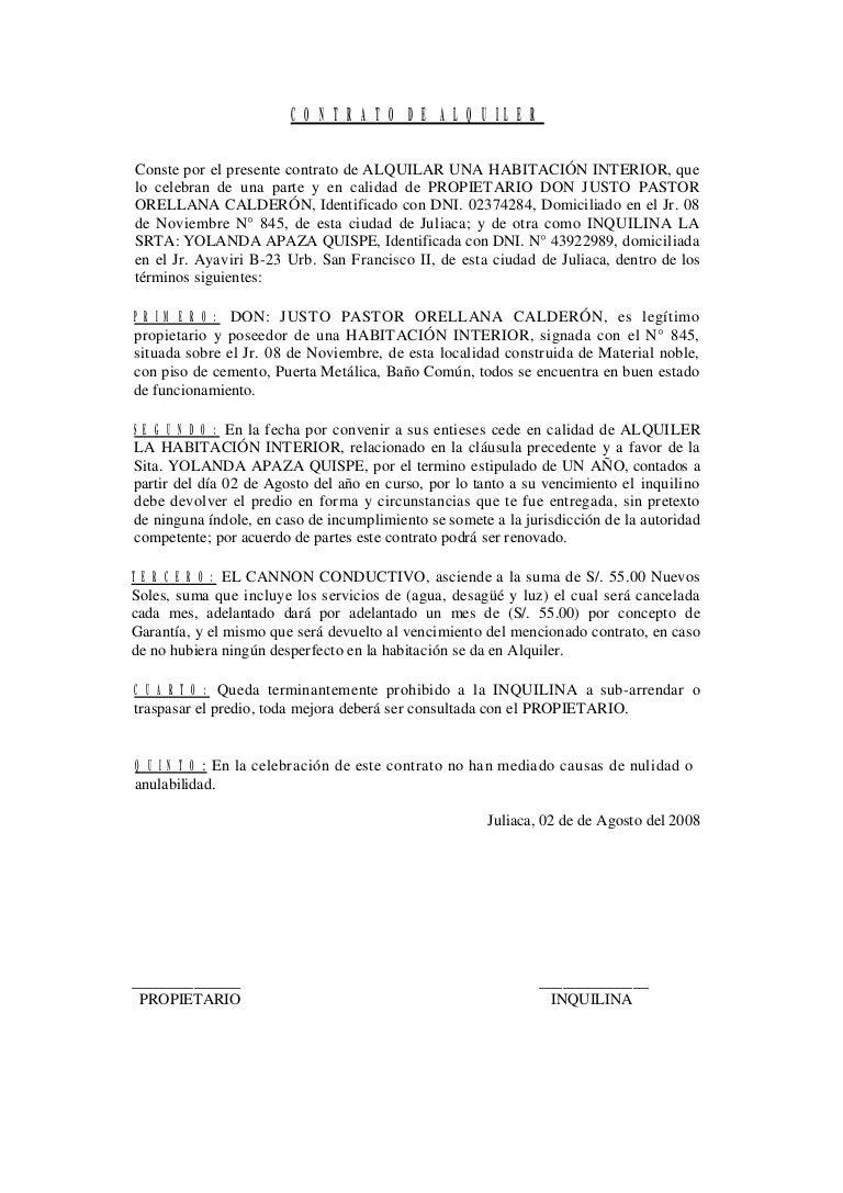 Modelo contrato de alquiler for Buscar cuartos de alquiler