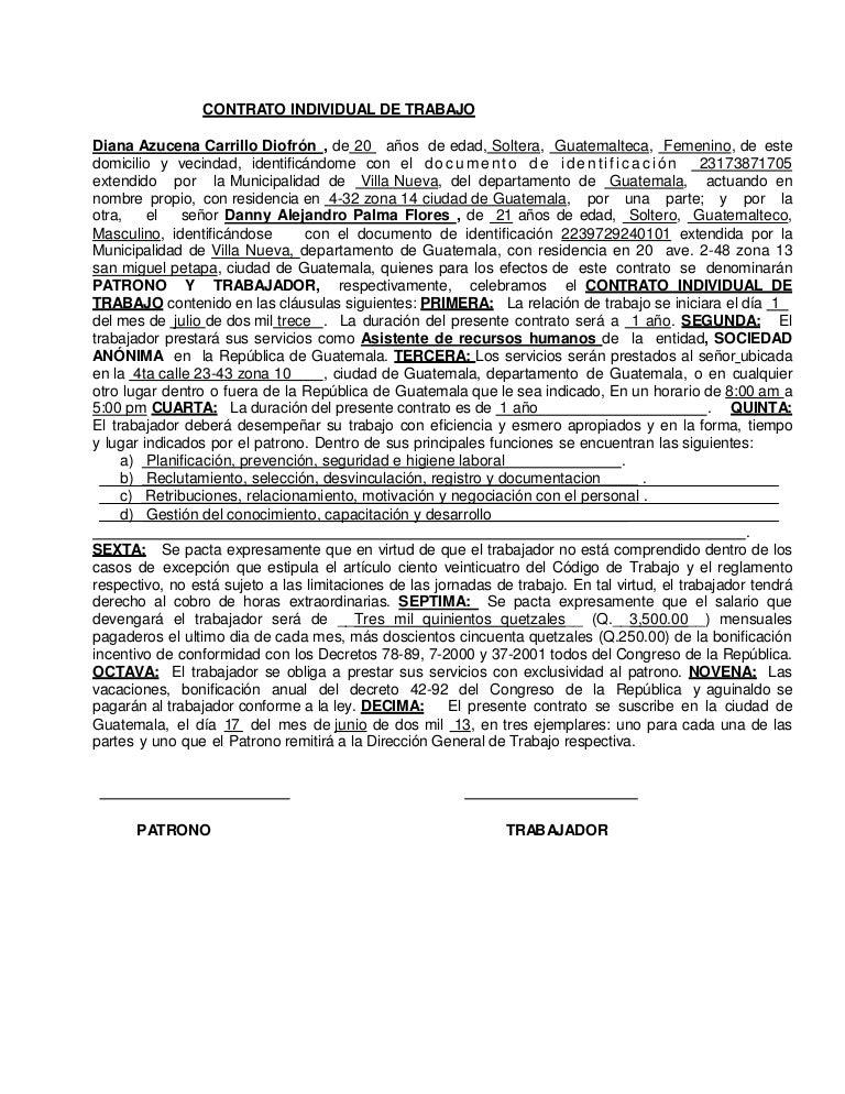 Modelo Contrato De Trabajo Diana Carrillo
