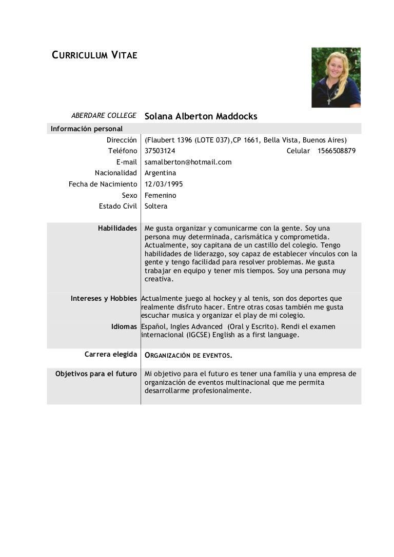 Modelo cv alberton maddocks, solana
