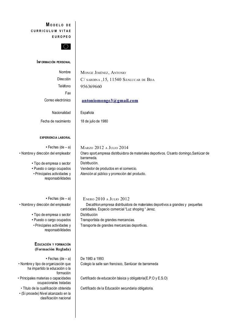 Increíble Ejemplos De Curriculum Vitae Incluyendo Experiencia ...