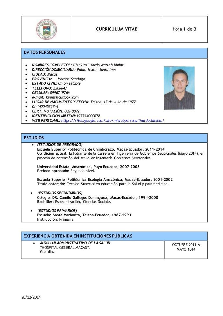 Hermosa Currículum Funcional 2014 Para Asistente Administrativo ...