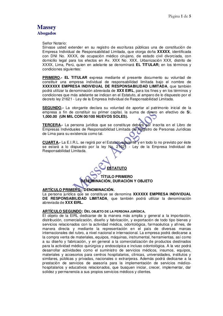 MODELO DE CONSTITUCIÓN DE EMPRESA - E.I.R.L. ( EMPRESA INDIVIDUAL DE…