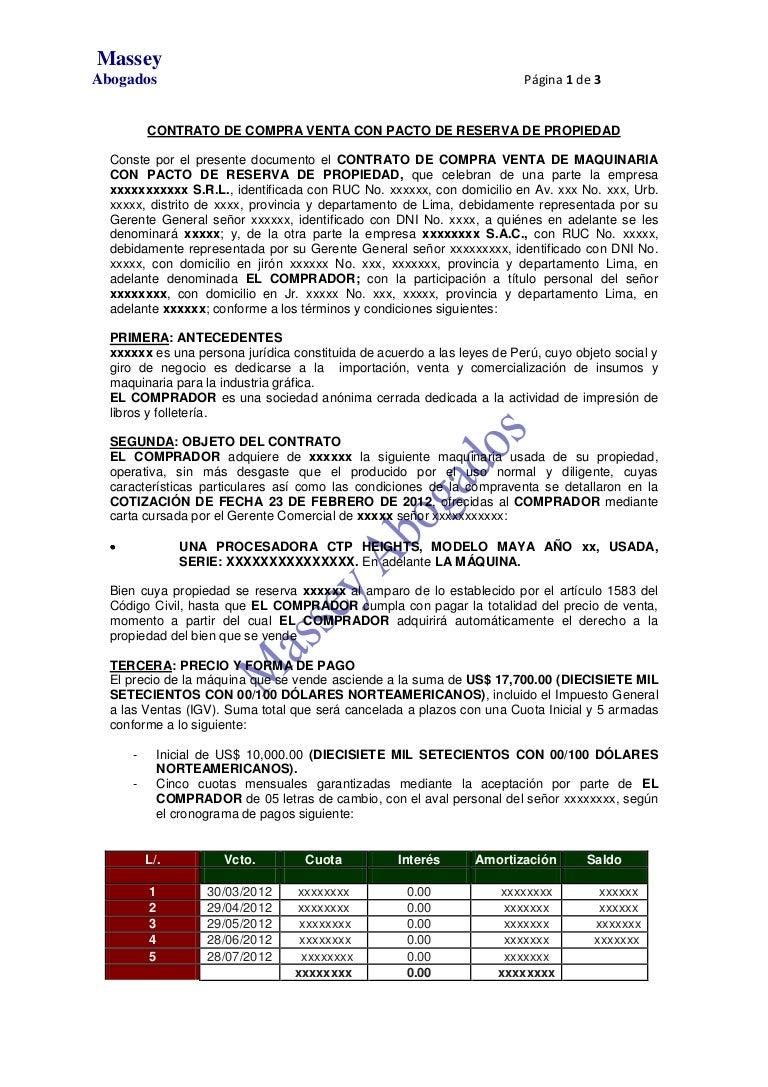 DE CONTRATO DE COMPRA VENTA CON PACTO DE RESERVA DE PROPIEDAD