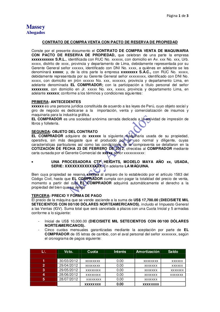 MODELO DE CONTRATO DE COMPRA VENTA DE MAQUINARIA CON PACTO DE RESERVA…