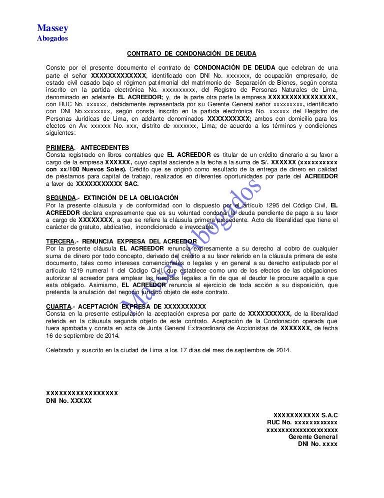 Modelo de contrato de condonaci n de deuda for Modelo contrato empleada de hogar 2015