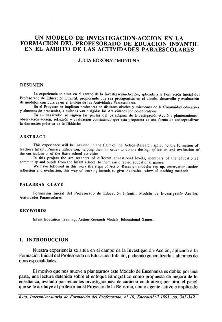 Artículo investigación-acción en la formación del profesorado