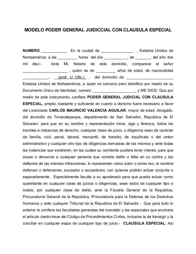Modelo de poder general judicial clausula especial - Nacionalidad de puerto rico en ingles ...