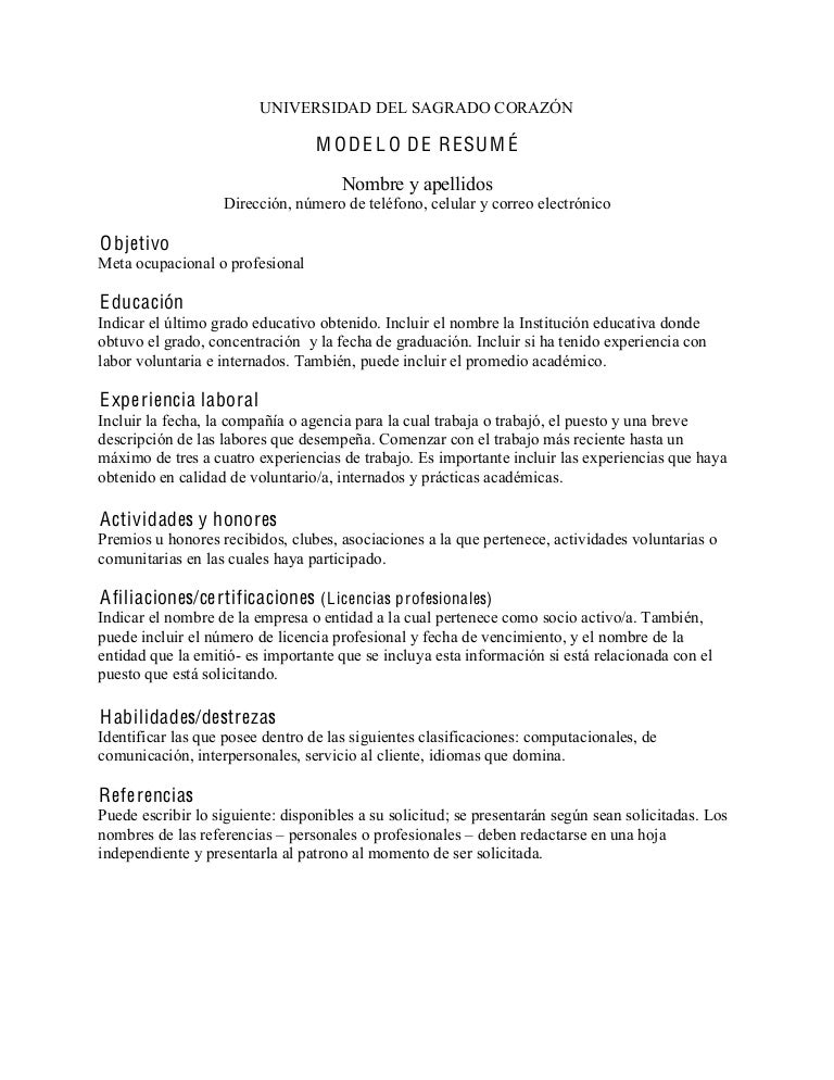 modelo curriculum ingles modelo curriculum en ingles