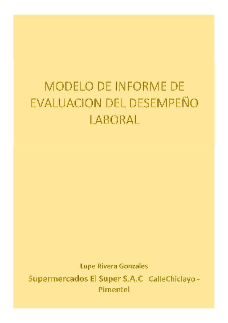 Modelos de Informe de Evaluacion de Desempeño Laboral