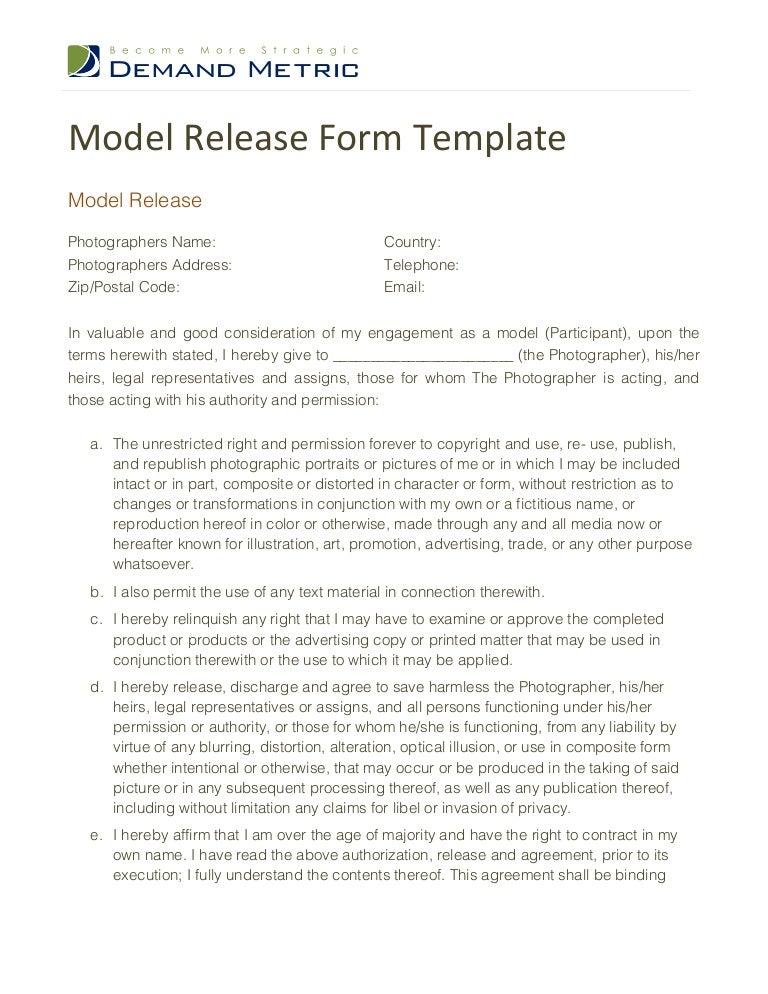 SlideShare  Legal Release Form Template