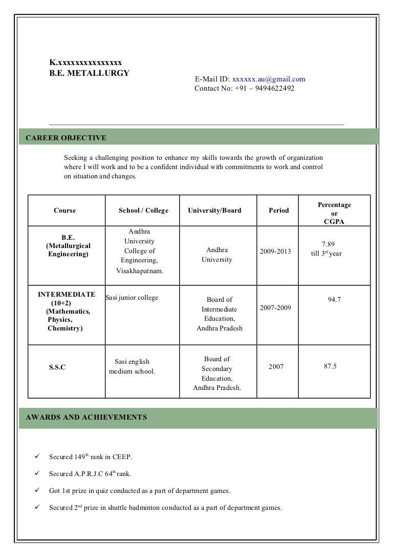 model of resumes