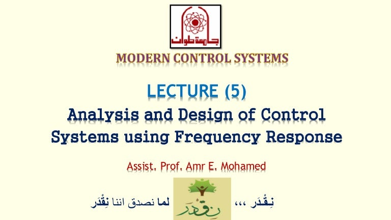 Modern Control Lec 05 Analysis And Design Of Control Systems Usin