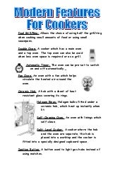 Modern features of a cooker
