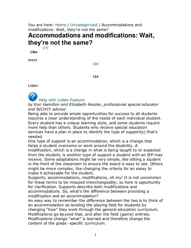 Examples Of Accommodations Modifications Smart Kids >> Modifications And Accommodations